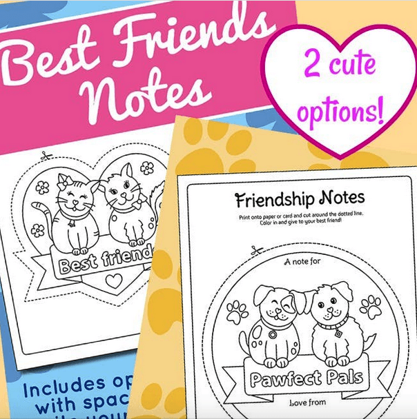 Super Cute Best Friends Coloring Page Notes